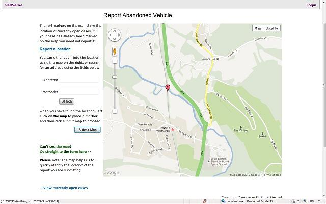 Mapping to locate an Abandoned Vehicle